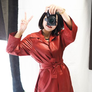 Fukushima flaming red bright flash cloth corrugated antique thin windbreaker jacket trench_coat dustcoat