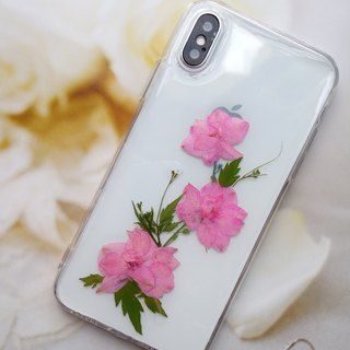 Pressed flowers phone case, Fit for iPhone X, Pink color