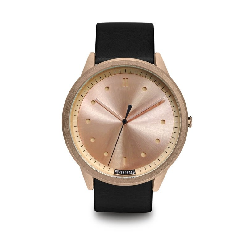 HYPERGRAND - 02 Basic Series - Rose Gold Dial Black Leather Watch