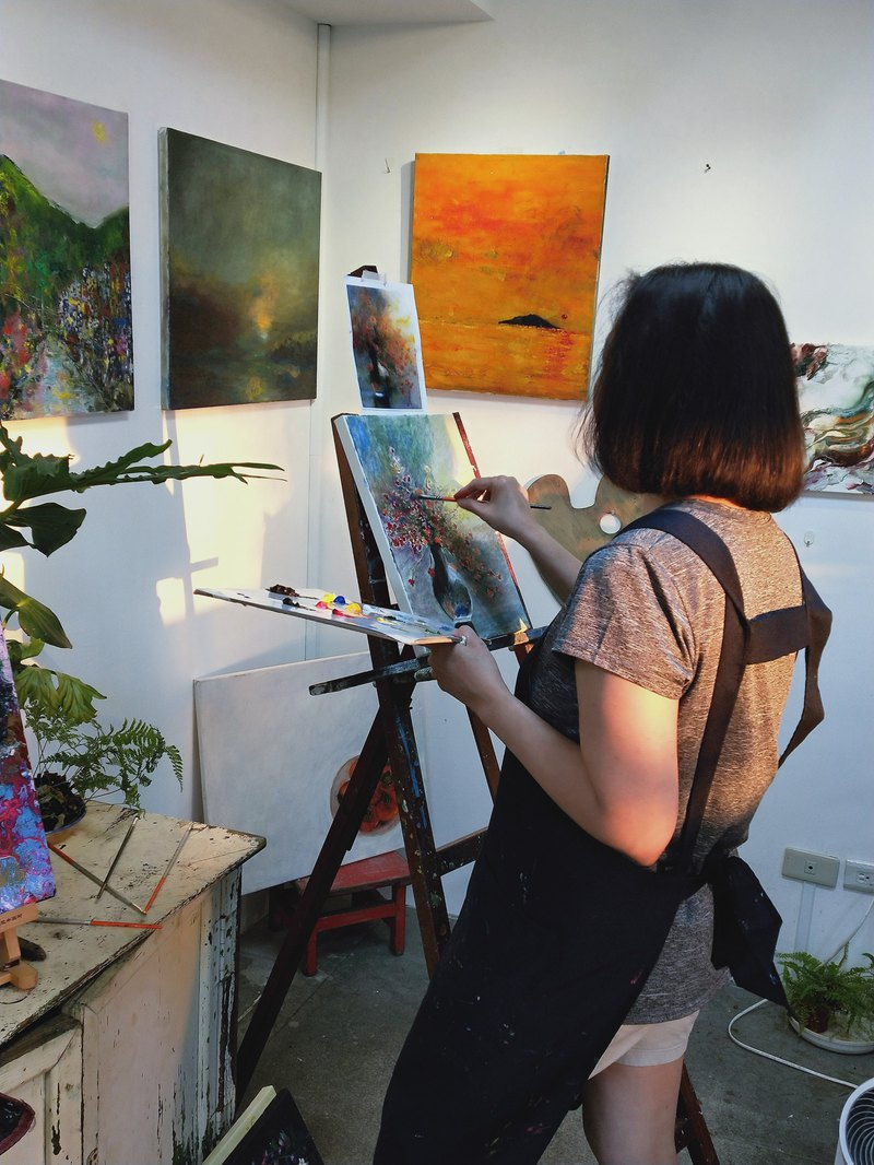 One-on-one oil painting experience (leisure time pool space exclusive enjoyment)