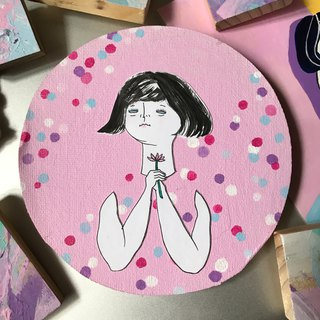 Fat sister Chumimi series | bouquet girl pink round wall clip painting