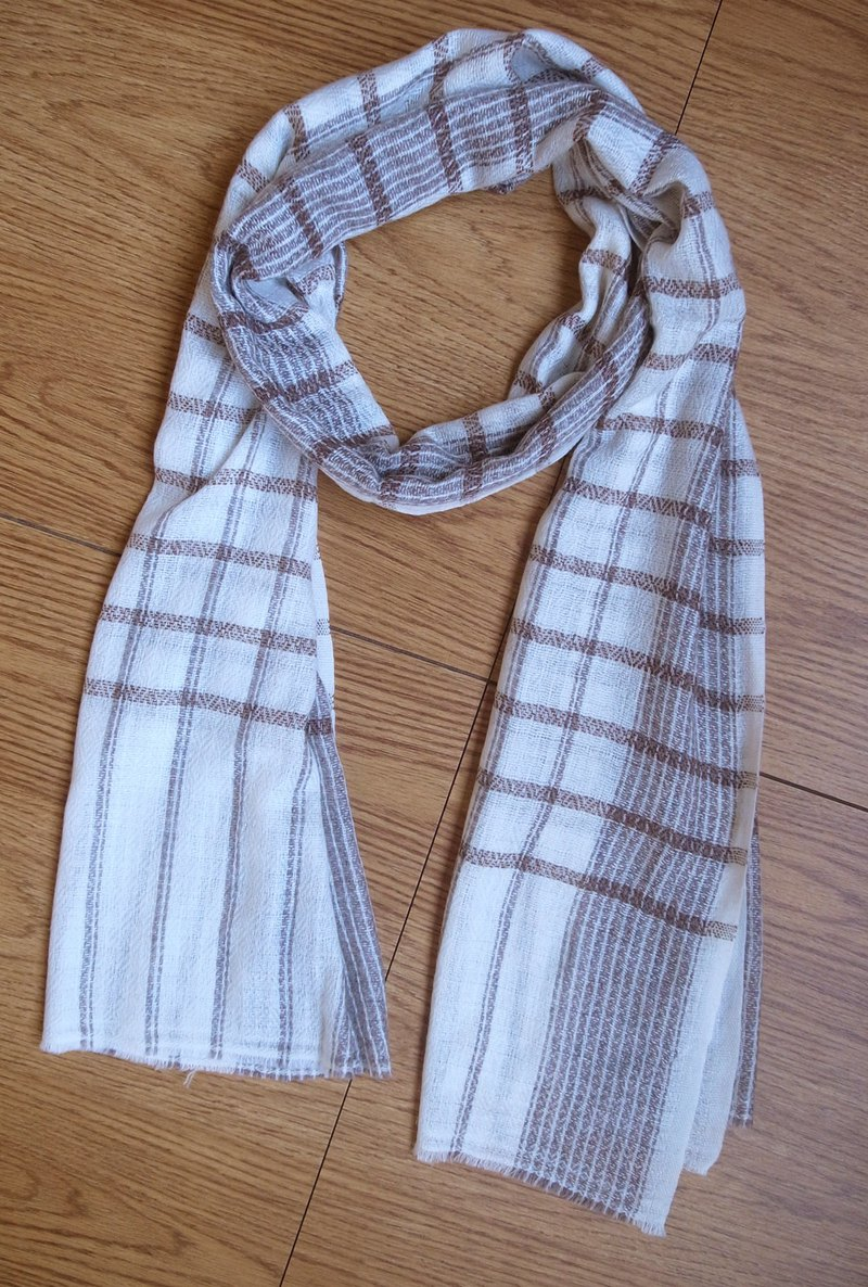 Cashmere Stripes Shawl / Scarf / Stole Light Brown