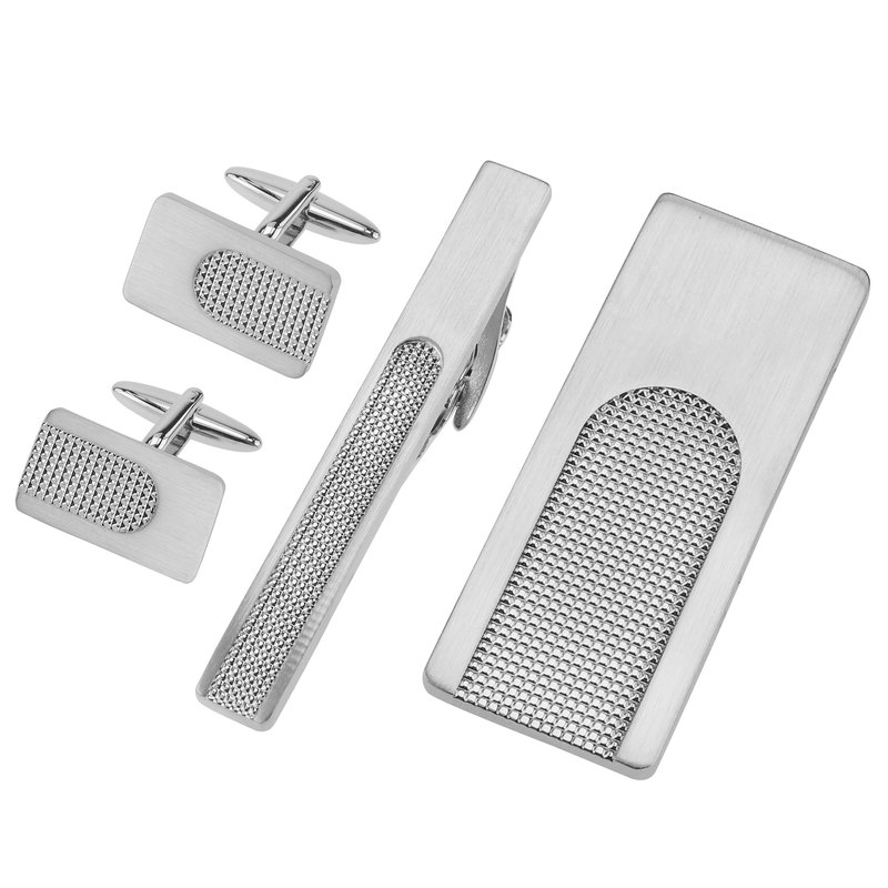Brushed Silver and Polished Apex Cufflinks Tie Clip and Money Clip Set