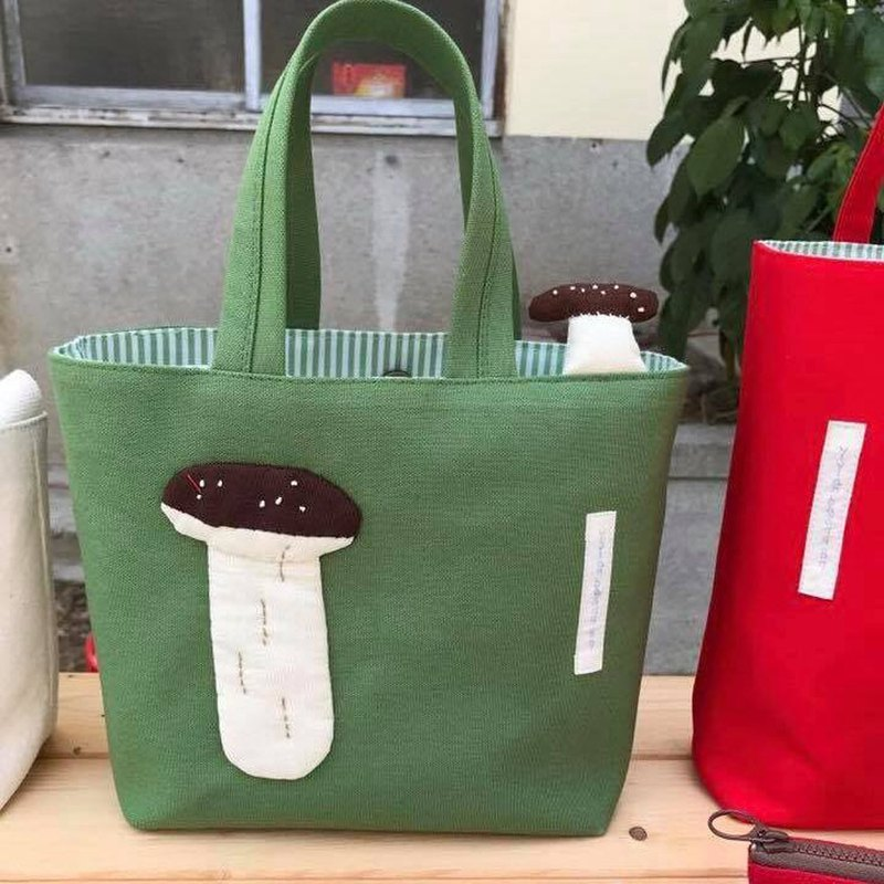 Coffee Mushroom Tote / Olive Green / UFO Head