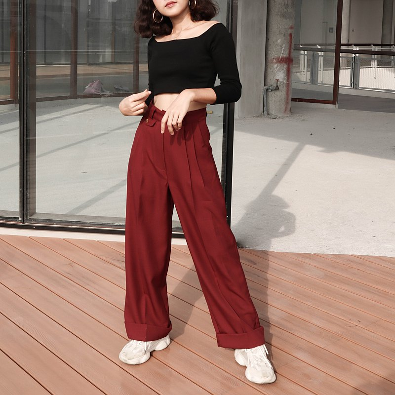High waist Uncle trouser : Red wine