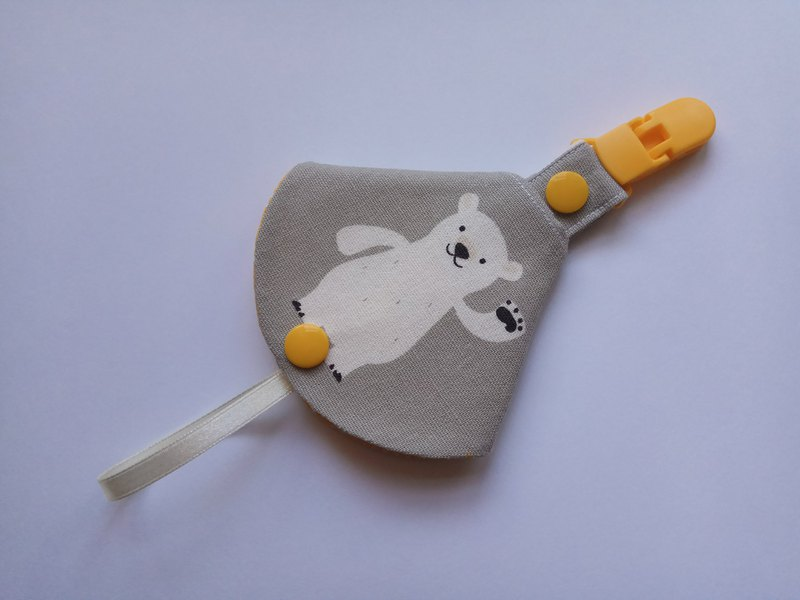 Gray bottom wave bear two in one pacifier clip < pacifier dust cover + pacifier clip> dual function 1 into