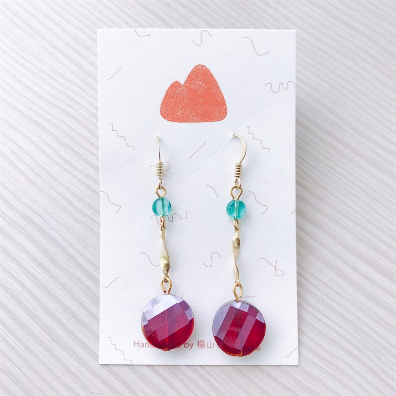 Wine - pin / clip earrings