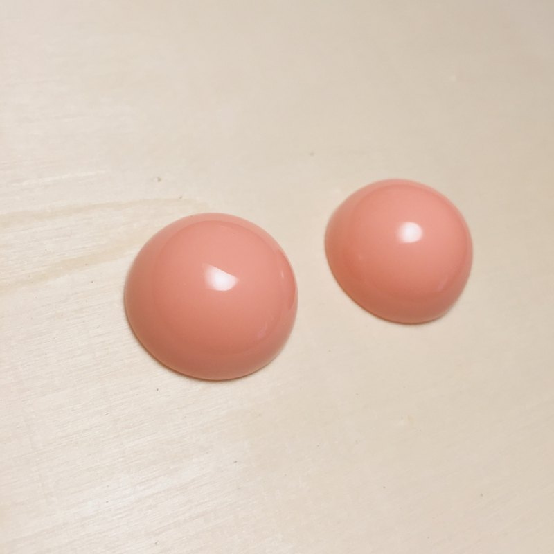 Vintage pink orange big earrings ear clips