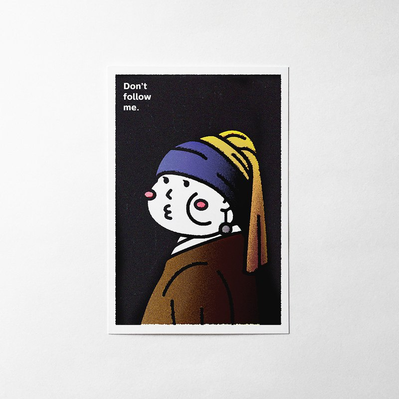 cheeky cheeky Don't follow me famous painting spoof series 01 postcard