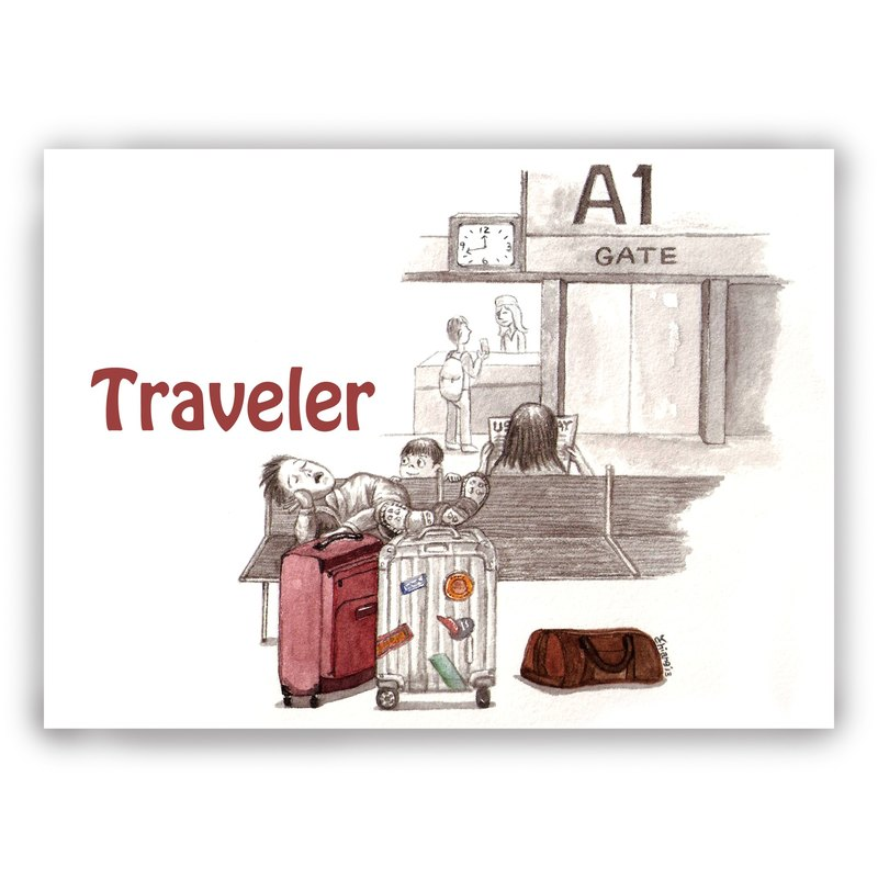 Hand-painted illustration universal card / card / postcard / illustration card - traveler travel tourist airport luggage