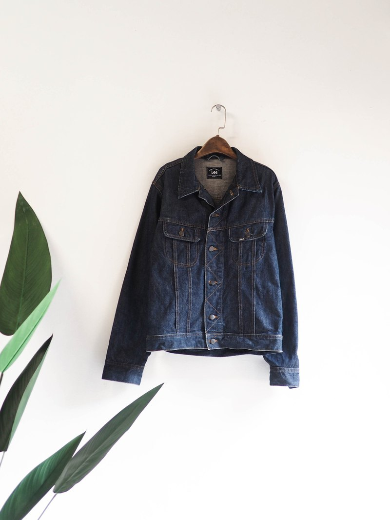 Lee deep black and blue basic version autumn love time antique cotton denim denim jacket vintage