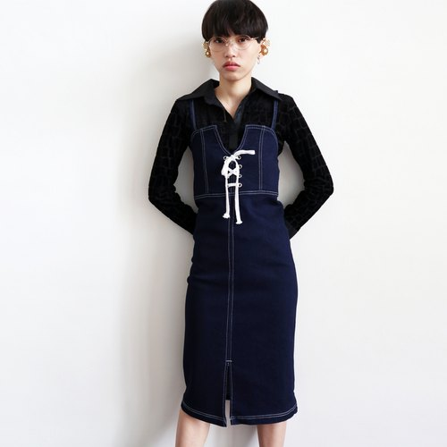 Pumpkin Vintage. Vintage denim strap strap dress