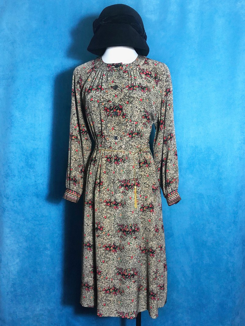 Customized flower long-sleeved vintage dress / brought back to VINTAGE abroad