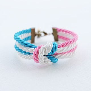 Pink/white/blue double knot bracelet
