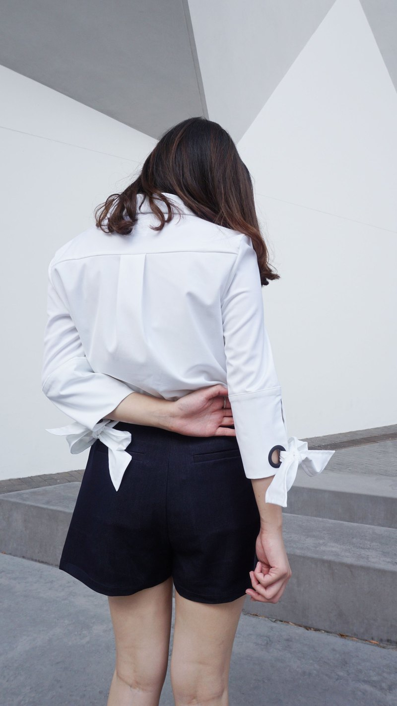 Tied-up Cuff Shirt (White)