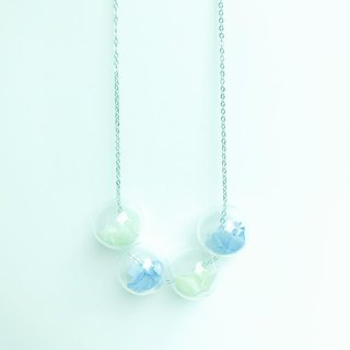 Purple Mint Green preserved flower necklaces glass ball Christmas Bridal Shower Gift
