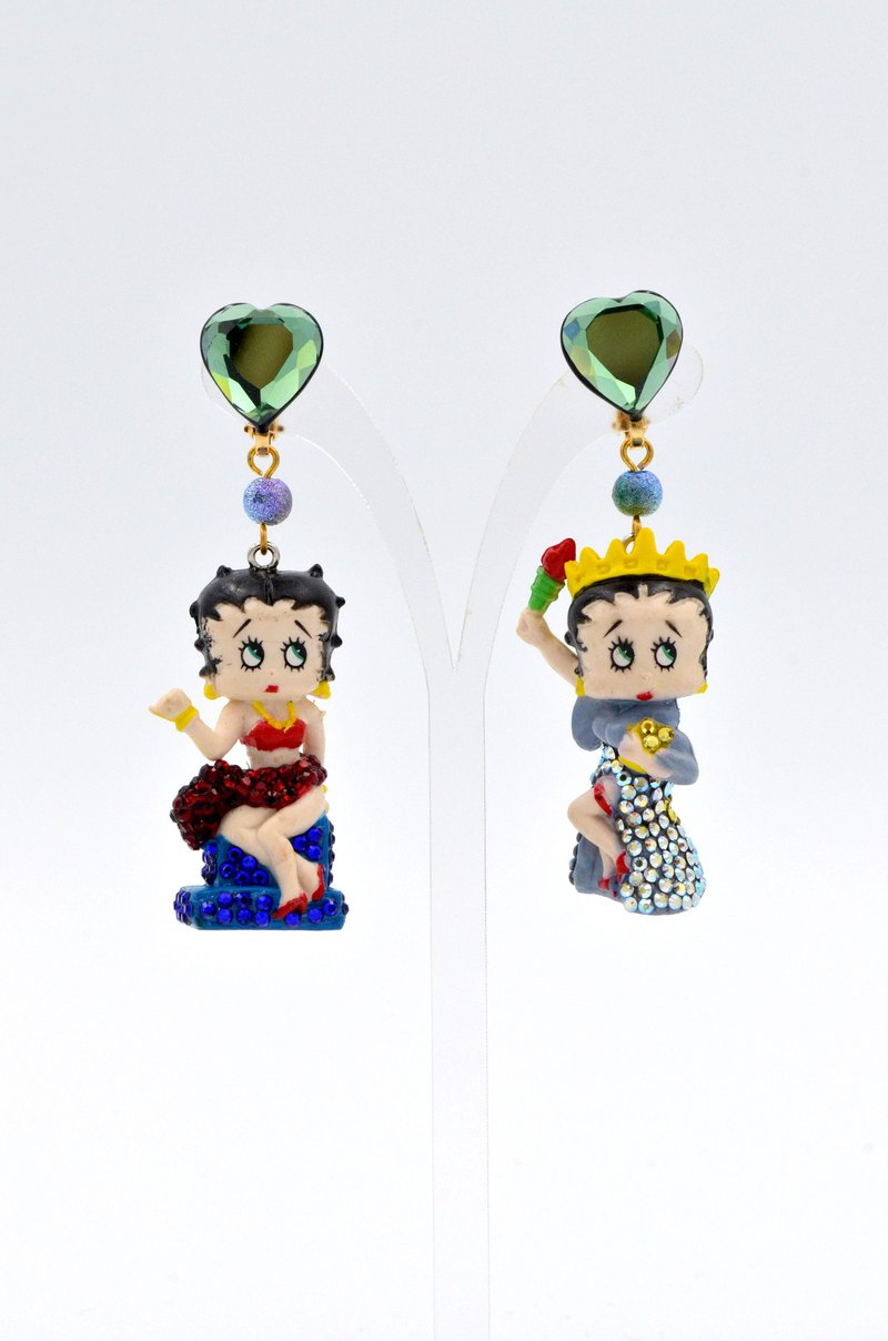 Colored crystal decoration BETTY earrings old dolls orphans pair