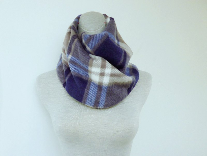Dark gray blue plaid hemp double-sided thick brush hair neck neck small scarf