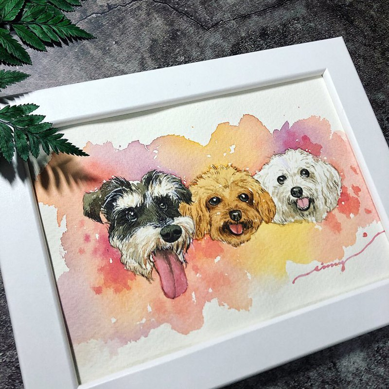 A lot of hairy | delicate transparent watercolor painting | hand-painted custom commemorative pet with frame