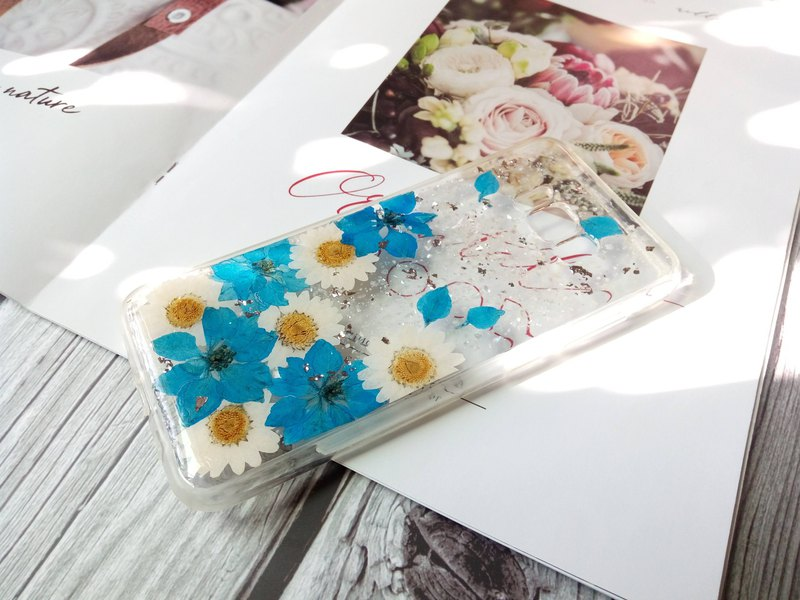 Pressed flowers phone case, Samsung Galaxy S8 Plus, Blue Larkspur