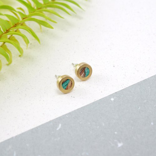 Send wood / geometric small round earrings / green / upgrade reproduction