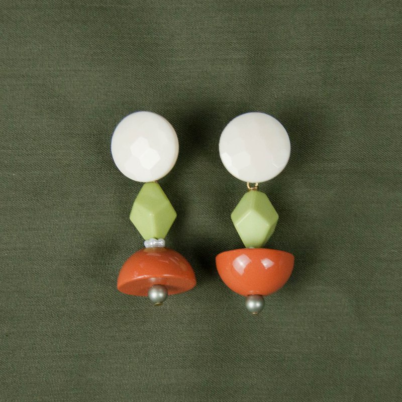 Spring Orange and Green Beaded Geometric Earrings