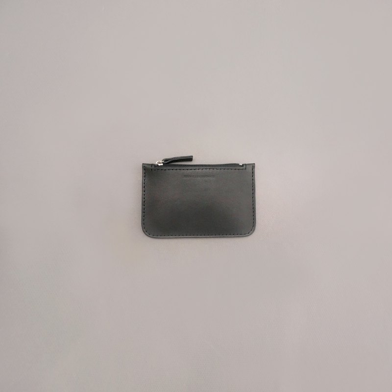 Flat coin purse leather wallet wallet / black vegetable tanned leather / handmade leather