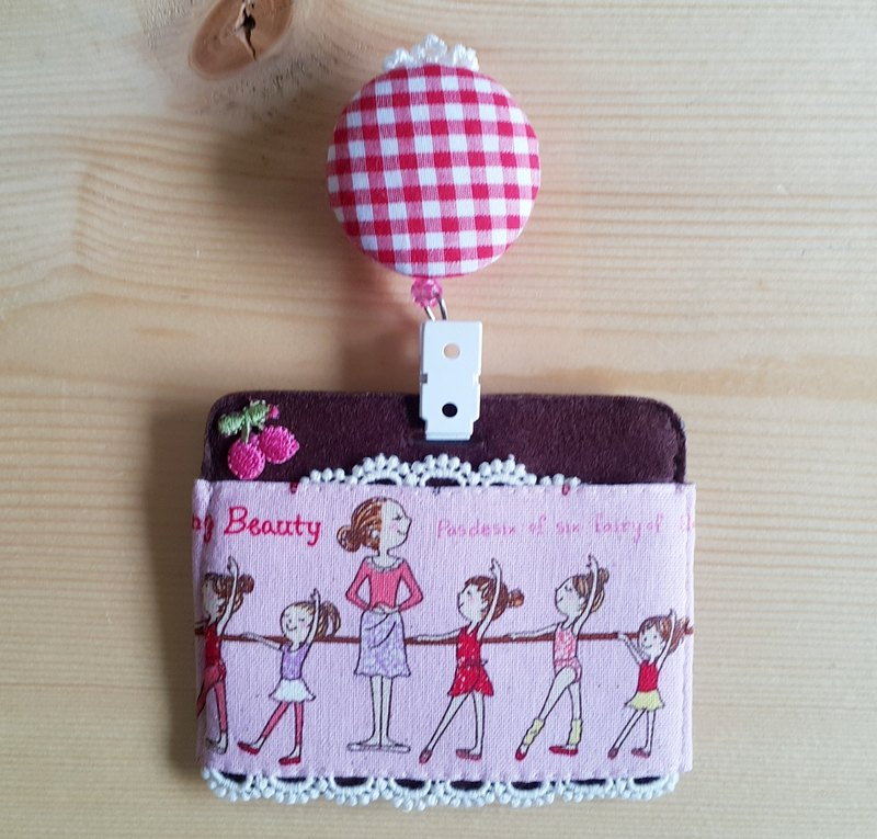 Mini Bear Handmade Ballet Girl Multifunction ((Two-sided)) Card Holder/Card Set + Telescopic Pull Ring (Steel Wire) Exclusive