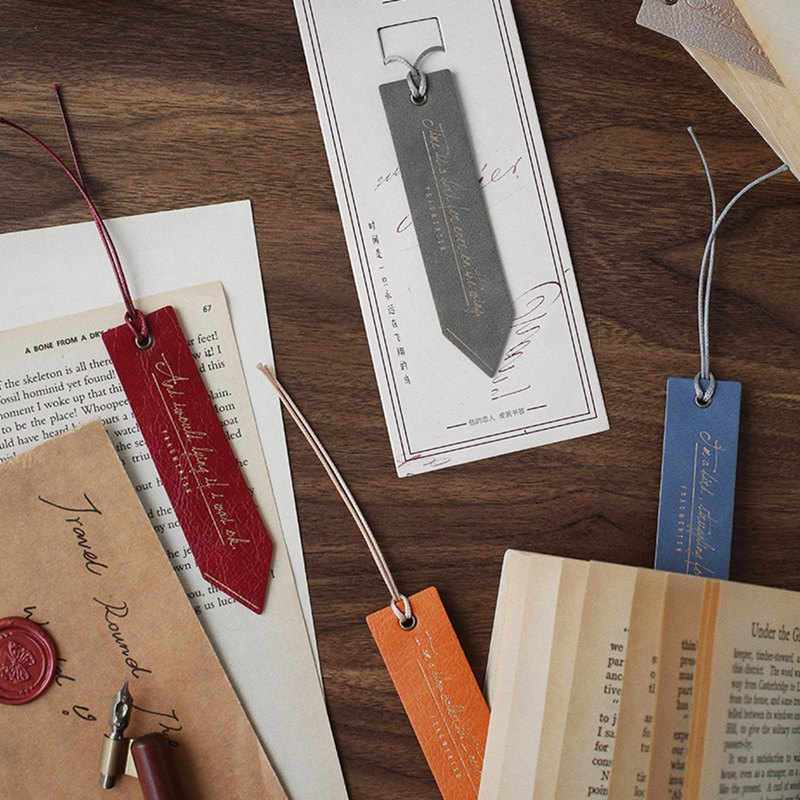 Letter lover leather bookmark residual debris creative literary reading retro old texture handbook tool