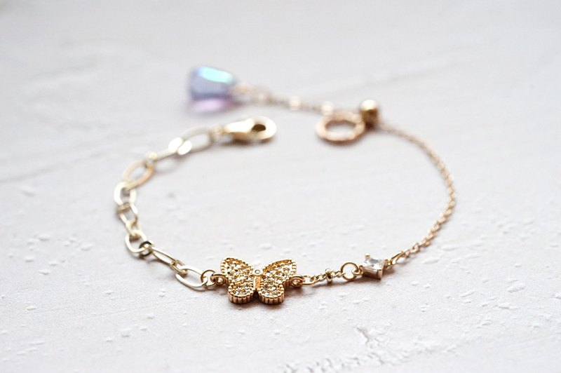 Zircon Butterfly Bracelet - 14K Gold Neck Bead Bracelet (Bundle Chain Design)