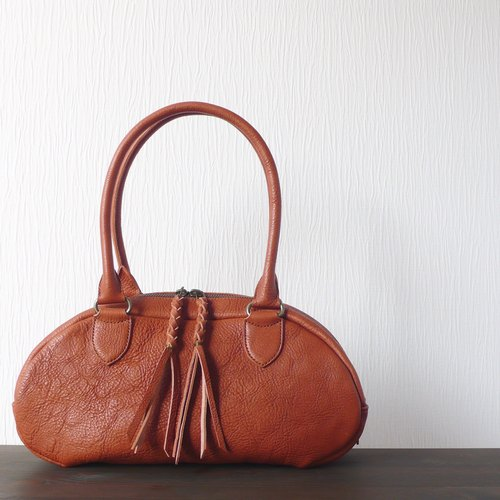 leather mini Boston bag / brown