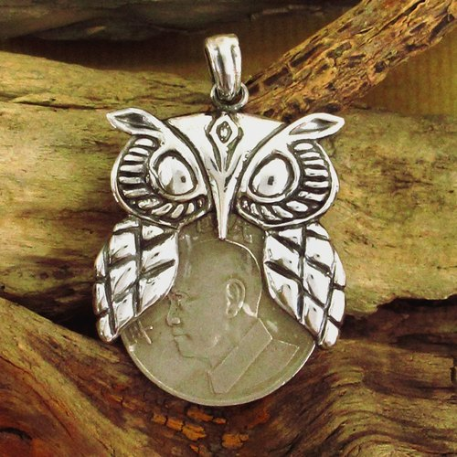 Jungle wind wallet wallet silver silver owl crashed (without chain) -64DESIGN