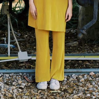 MINIMAL MUSTARD YELLOW PLEAT PANTS WITH ELASTIC HIGH WAIST
