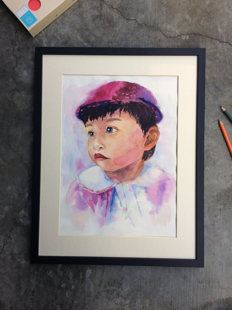 "WuWu customized watercolor portraits customized -8 opening size ""single facial features"" custom box +"