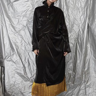 High Collar Black Silky Midi Dress Long Sleeves Asymmetrical Robe