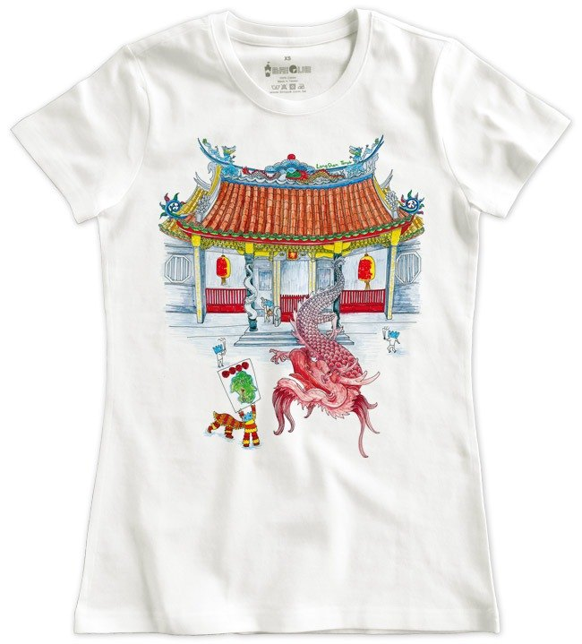 Classic white short-sleeved T-shirt _ Longshan Temple (Female M without inventory)