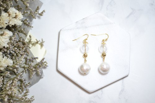Glass ball with japanese cotton pearl  24k GP dangle earrings  【softboil_egg】