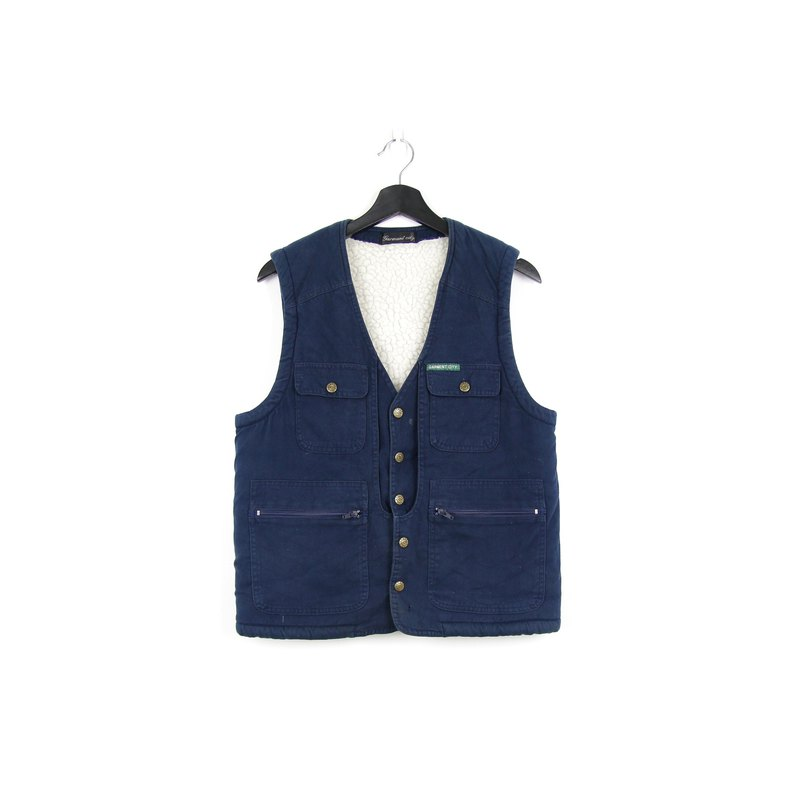 Back to Green cotton fisherman vest midnight blue //vintage vest