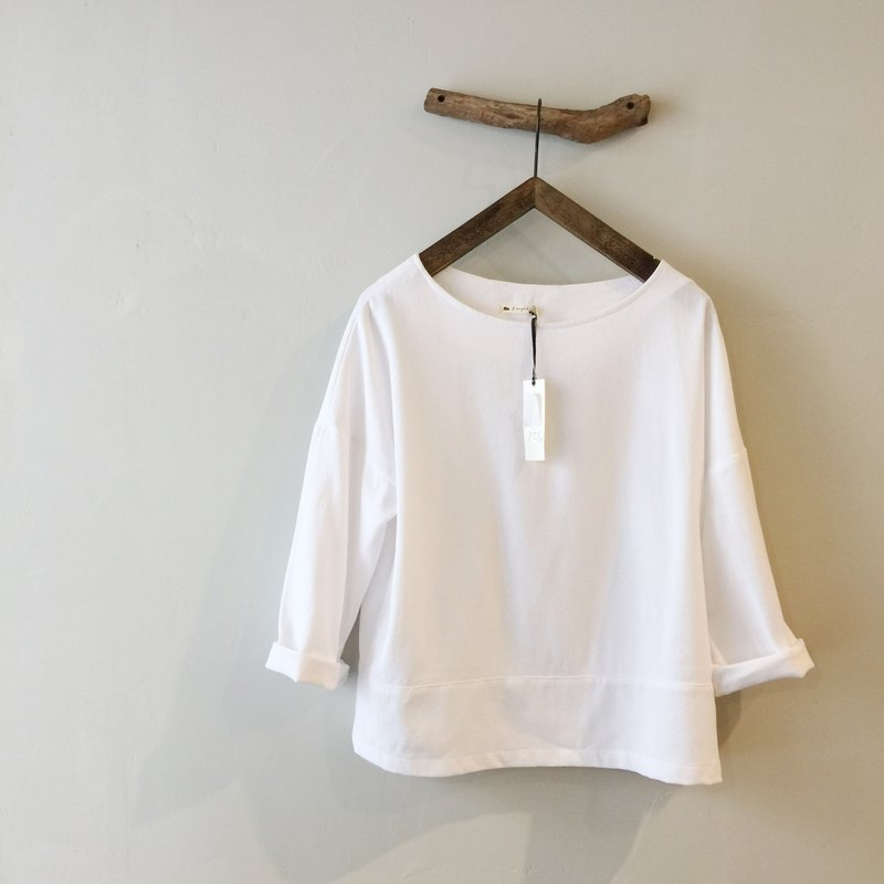 RH clothes / cotton wide eighths sleeve shirt / white