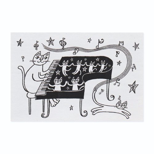 "Okabe Tetsuro Cat Postcard ""Heart to Heart, Beautiful Night"""