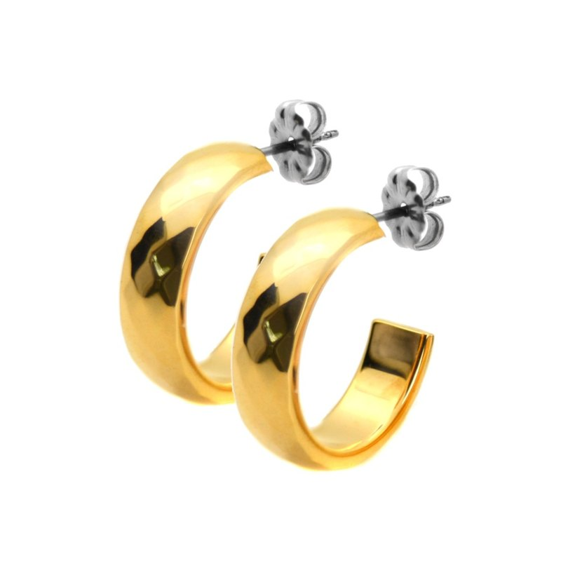 Gothic true love - wide version - gold pure titanium earrings pair