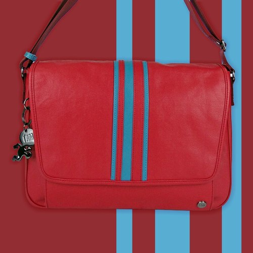 [Free shipping] I AM - Classic Series CARBON Terms messenger bags - red / blue stripes