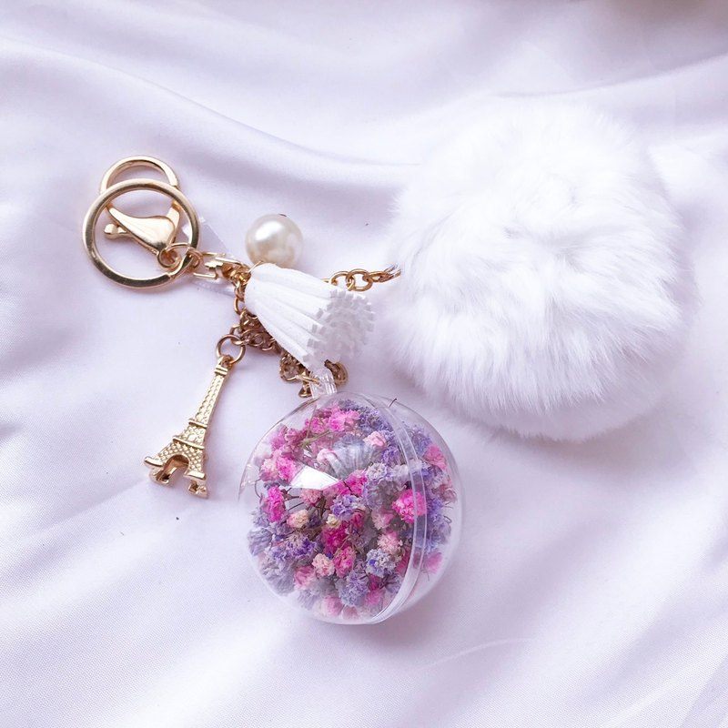 FLORA FLOWER-Eternal Flower Keyring / Gypsophila / Charm / Wedding Accessories / Bride