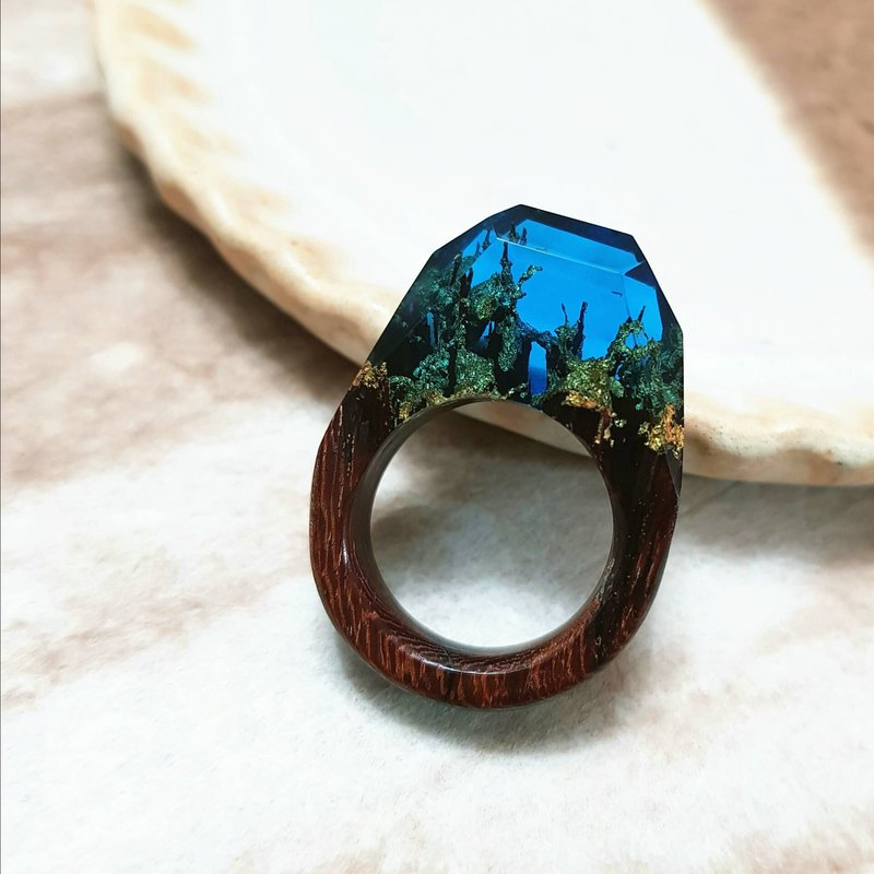 Blue sky autumn forest wood hand made series of wood rings can be used as necklace pendant with tied rope silver head