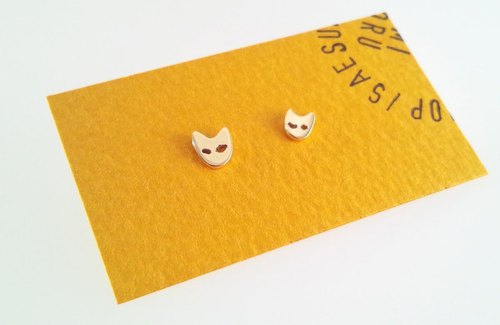Cat face K14 gold earrings 【L】