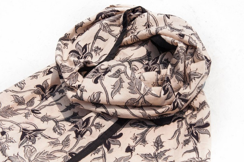 Hand-woven pure silk scarves / handmade wood-printed plant dyed scarves / grass dyed cotton scarves - desert palace vines