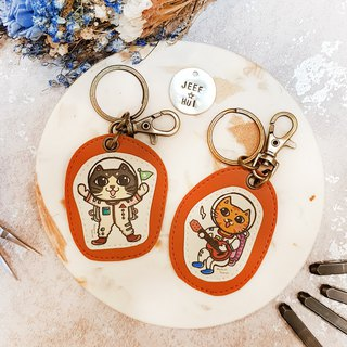 [Smart Cat x City Cat] Illustration Cortex - Custom Knock Knock Key Ring (Strap) Space Cat