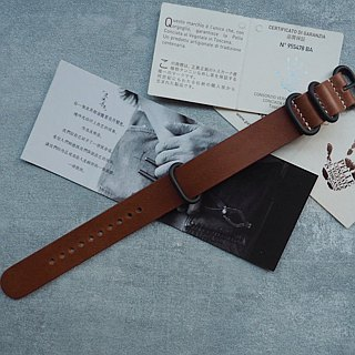 NATO strap water ghost military table for Italy imported yellow brown leather handmade leather design customized