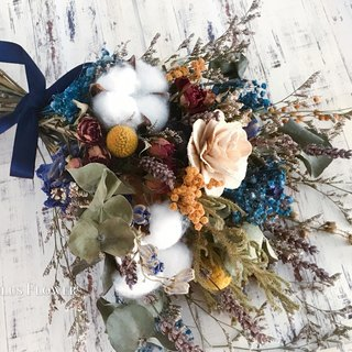 Vintage blue dry flowers bridal bouquet outside bouquet wedding props