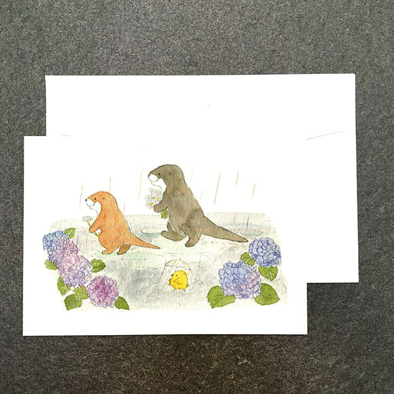 Cute otter rainy hydrangea watercolor postcard